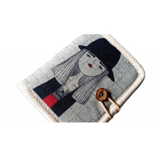 Кошелек Девушка в шляпе текстильный  в  Интернет-магазин Zelenaya Vorona™ 1