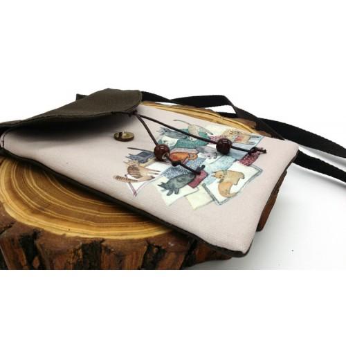 Женская сумка-кошелек Cats текстильная  в  Интернет-магазин Zelenaya Vorona™ 3
