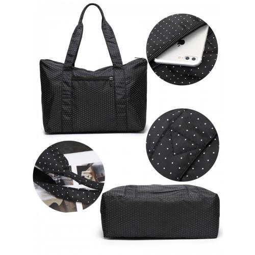 Женская дорожная сумка с креплением на ручку чемодана. Черная в горох  в  Интернет-магазин Zelenaya Vorona™ 5