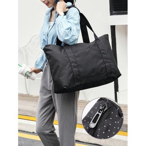 Женская дорожная сумка с креплением на ручку чемодана. Черная в горох  в  Интернет-магазин Zelenaya Vorona™ 1