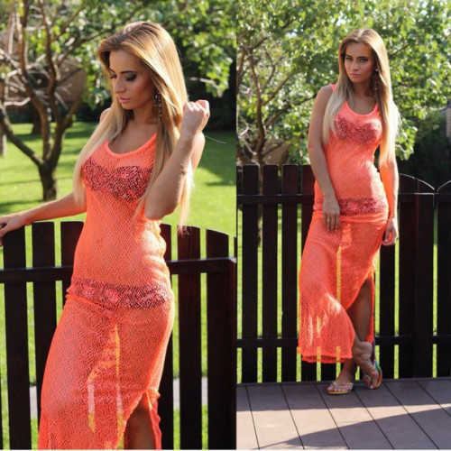 Покупка  Пляжная туника в пол. Розовый закат в  Интернет-магазин Zelenaya Vorona™