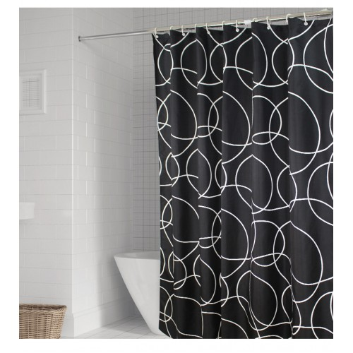 Покупка  Черно-белая шторка для ванной и душа Black & white в  Интернет-магазин Zelenaya Vorona™