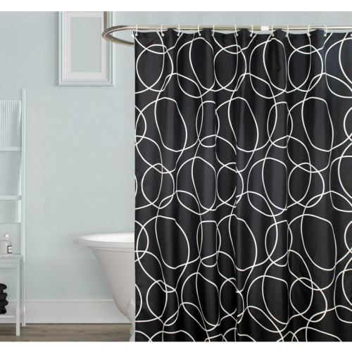 Черно-белая шторка для ванной и душа Black & white  в  Интернет-магазин Zelenaya Vorona™ 1