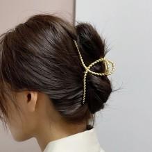 Металлический зажим для волос, заколка-краб Плетенная петелька