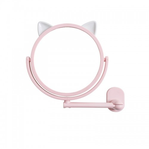 Покупка  Настенное поворотное косметическое зеркало для ванной с ушками. Розовый (УЦЕНКА) в  Интернет-магазин Zelenaya Vorona™