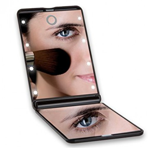 Складное зеркало для макияжа с подсветкой LED Travel Mirror. Черный   в  Интернет-магазин Zelenaya Vorona™ 1