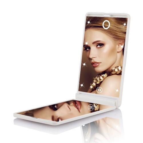 Покупка  Складное зеркало для макияжа с подсветкой LED Travel Mirror. Белый в  Интернет-магазин Zelenaya Vorona™