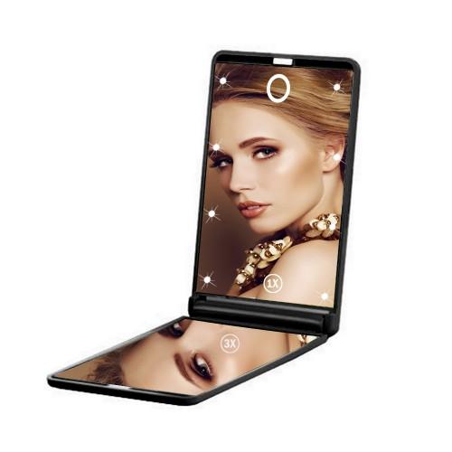 Покупка  Складное зеркало для макияжа с подсветкой LED Travel Mirror. Черный  в  Интернет-магазин Zelenaya Vorona™