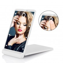 Складное зеркало для макияжа с подсветкой LED Travel Mirror. Белый