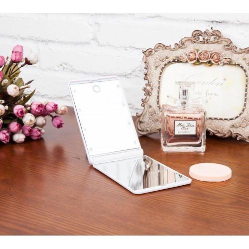 Складное зеркало для макияжа с подсветкой LED Travel Mirror. Белый  в  Интернет-магазин Zelenaya Vorona™ 2