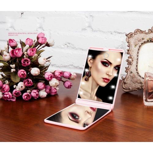 Складное зеркало для макияжа с подсветкой LED Travel Mirror. Розовый  в  Интернет-магазин Zelenaya Vorona™ 1