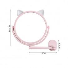 Настенное поворотное косметическое зеркало для ванной с ушками. Розовый (УЦЕНКА)